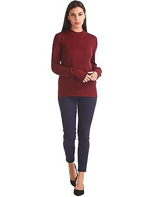 Elle Solid High Neck Sweater