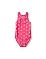 The Children's Place Girls Pink Polka Dot Racer-Back One-Piece Swimsuit