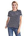 Flying Machine Women Raglan Sleeve Striped T-Shirt