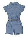 Cherokee Girls Washed Chambray Romper
