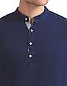 Cherokee Mandarin Collar Half Placket Shirt