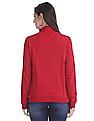 Flying Machine Women Red High Neck Solid Sweatshirt
