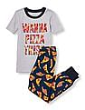 The Children's Place Boys Assorted Short Sleeve 'Wanna Pizza This' Graphic Top And Printed Pants PJ Set