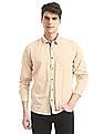 Ruggers Beige Mitered Cuff Solid Shirt