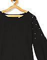 The Children's Place Girls Black Pearl Embellished Raglan Sleeve Sweater