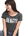 SUGR Grey Round Neck Embellished T-Shirt