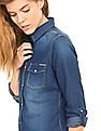 Flying Machine Women Regular Fit Washed Denim Shirt