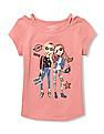 The Children's Place Girls Short Sleeve Embellished Cut-Out Graphic Top
