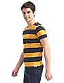 Flying Machine Yellow And Charcoal Horizontal Stripe T-Shirt