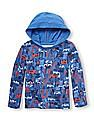 The Children's Place Toddler Boy Long Sleeve Camping Print Faux-Layer Hooded Thermal Top