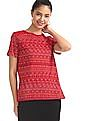 Cherokee Red Printed Cotton Top