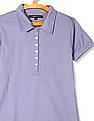 Flying Machine Women Purple Regular Fit Solid Polo Shirt