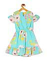 Cherokee Girls Floral Print Cold Shoulder Dress