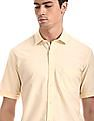 Arrow Sports Yellow Short Sleeve Solid Shirt