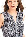 GAP Women Blue Mix Print Sleeveless Shirt Dress