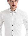 Arrow Newyork White Vertical Stripe Cotton Shirt