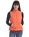 Flying Machine Women Orange Solid Gilet Jacket