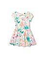 The Children's Place Toddler Girl Short Sleeve Tropical Leaf Print Knit Cutout Back Dress