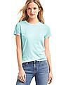 GAP Women Green Vintage Wash Crew Neck Tee